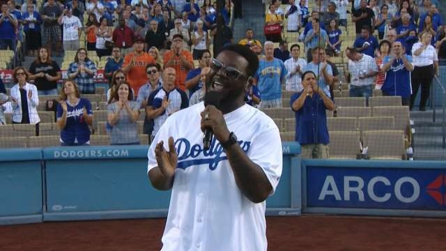 T-Pain sang the national anthem (without Auto-Tune!) at a Dodgers game, and it ...